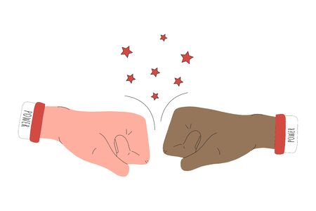 Two fists facing each other. Two hands hit each other in the air, knocking out stars. illustration of a combat gesture isolated on a white background. for icons, stickers, and posters.