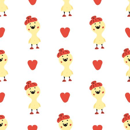 hand-drawn doodle ducks seamless pattern. vector illustration with red hearts and yellow bird on a white background. for packaging, fabrics, or backgrounds.