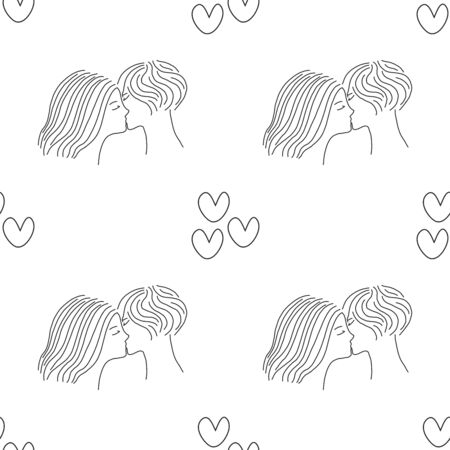 LGBT-seamless pattern. Girls kiss each other,  Faces close-up isolated on a white background. Stock Illustratie