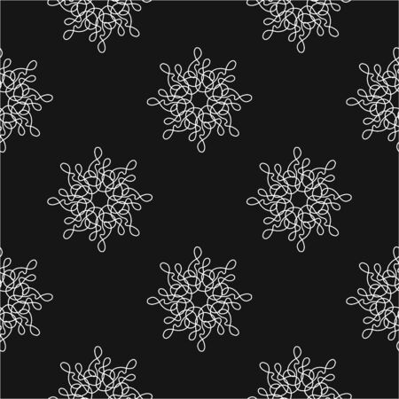 floral Oriental black insulated seamless background in a minimalist style.for fabric and clothing design, packaging and branding.Vector illustration in a hand-drawn style on black background