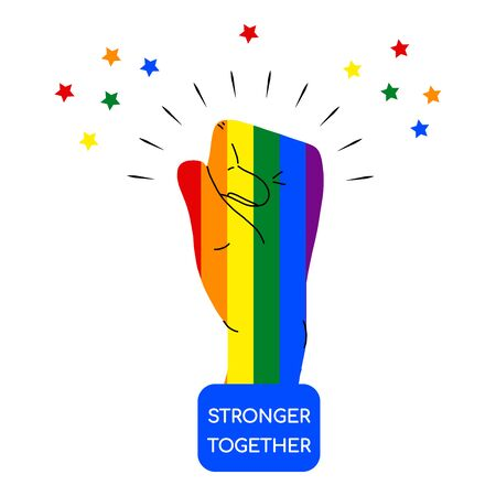 Rainbow colored hand with a fist raised up and the words stronger Together. Gay Pride. LGBT concept. Sticker, patch, t-shirt print, logo design. on white background