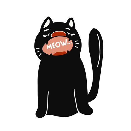 vector illustration of a scary black cat in a hand-drawn style.Suitable for stickers, stickers, t-shirt design. Isolated on a white background.