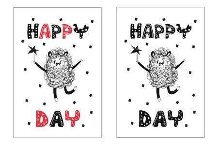 Greeting card with a funny sheep with a star in her hands and the inscription happy day.Suitable for Birthday greetings or as motivational poster for a childrens room.Hand-drawn vector illustration Ilustração