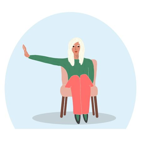 a young girl sits inside a transparent bubble with an outstretched hand showing personal boundaries.concept of social distance,personal space.vector illustration in flat style.for socialmedia,banners