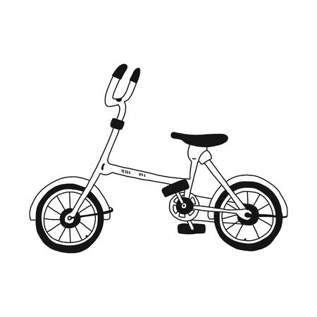 folding city bike for walking in parks and bike paths. Vector illustration drawn by hands in a flat style isolated on a white background. for icons, websites, banners, and postcards