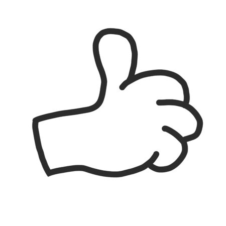Hand line icon in a flat design style, isolated on a white background. the symbol of a great result is a finger raised up. for website and app design, posters and posters. gesticulation.