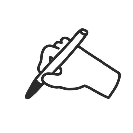 Icon of the hand line in a flat style, isolated on a white background. hand with a pen in hand. signature symbol on documents, studies. for website and app design. hand drawn Vectores
