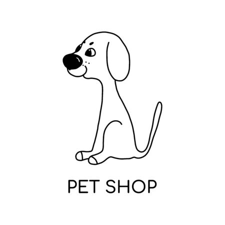 Vector linear illustration of funny dog .  design template. abstract concept for a pet store or veterinary clinic.for advertising materials,icons on the site.isolated on white background Stock Illustratie