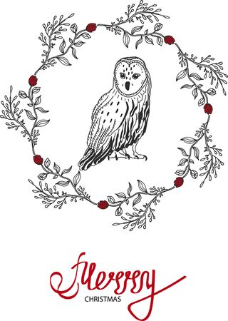 A cheerful Christmas text decorated with hand-drawn branches and an owl in the center. Greeting card design element. Lettering with a red brush. Vector typography