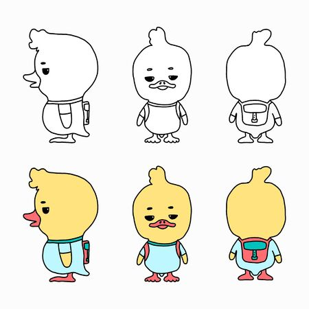 Vector cartoon illustration of a funny little duckling with a backpack. A set of characters in different poses. Suitable for applications, games, colorful colorings or branding of children s products