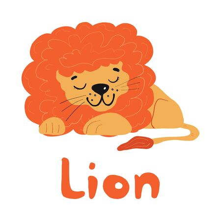 cute funny cartoon character lion. Flat design of a children s character in cartoon style. For children s items, postcards, t-shirt design, toys. Isolated on a white background.