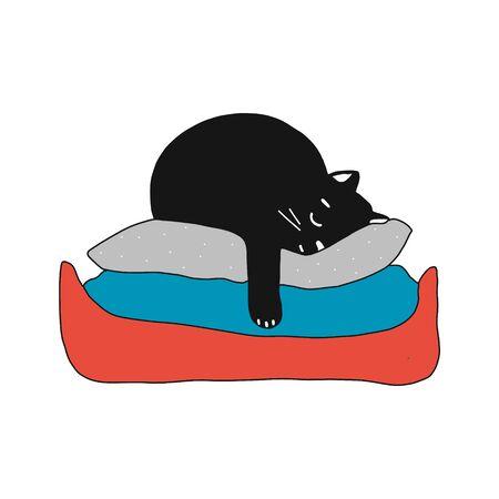 Cute black kitten sleeping on pillows. vector illustration in cartoon style Vectores