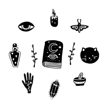 Big witch magic design elements collection. Cute hand drawn, doodle, sketch magician set. Witchcraft symbols potion, skull, crystal, eyes. Vector. For tattoo, textile, cards Halloween decor Ilustracja