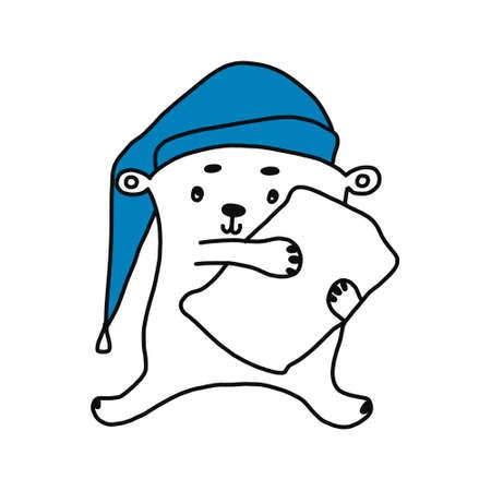 cute bear sleeping on pillow character design fashion graphic, T-shirt graphics.  イラスト・ベクター素材