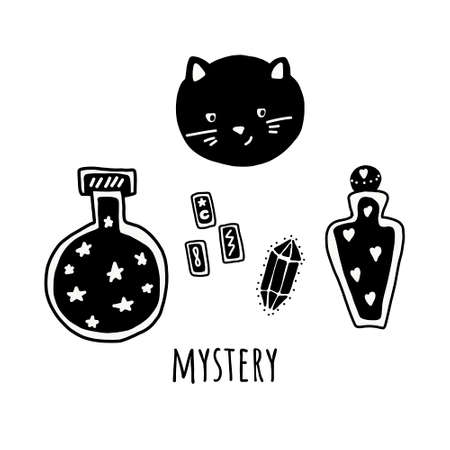 Big witch magic design elements collection. Cute hand drawn, doodle, sketch magician set. Witchcraft symbolscat, bones, elixir and crystals. Vector. For tattoo, textile, cards, Halloween decor t-shirt