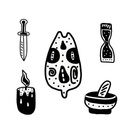 Big witch magic design elements collection. Cute hand drawn, doodle, sketch magician set. Witchcraft symbolsknife, candle, hourglass, mortar, Vector. For tattoo, textile, cards, Halloween decor