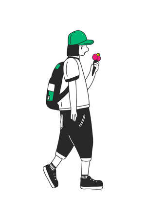 fashionable girl in jeans, with a backpack and a cap eating ice cream. vector illustration. the concept of summer walks in parks in the heat. For blogs, social networks, and t-shirt design, books.
