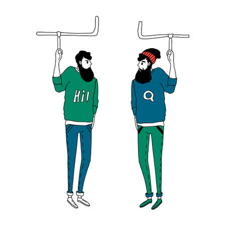 Two hipster men drive underground and look at each other. Vector illustration in a simple flat style. Isolated on a white background. Concept of urbanisation and underground transport in the city.