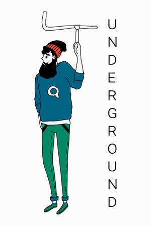 Two hipster men drive underground. Vector illustration in a simple flat style. Isolated on a white background. Concept of urbanisation and underground transport in the city.