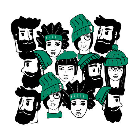 Happy people-a hand-drawn pattern of a crowd of different people from different cultural backgrounds who are smiling and happy.Girls and boys are hipsters in different hats.vector illustration.