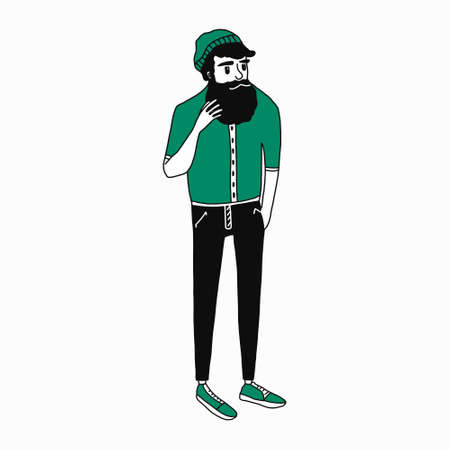 flat cartoon beatnik character, vector illustration of a man with a well-groomed beard and a knitted hat in jeans and sneakers.