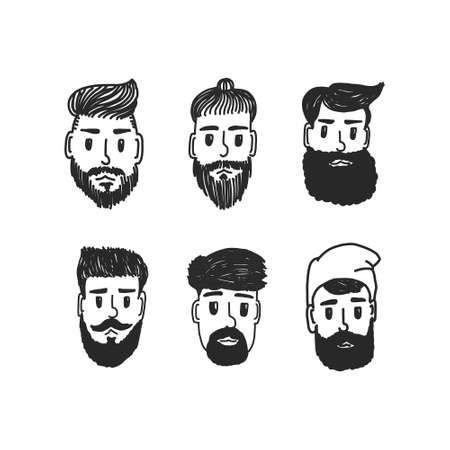 Fashion silhouette hipster style set, vector illustration. faces of men with different beards