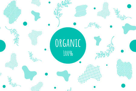 organic vector composition with abstract elements and branches of plants drawn by hand. Eco-friendly background for postcards, websites, posters, booklets, flyers. 100 natural