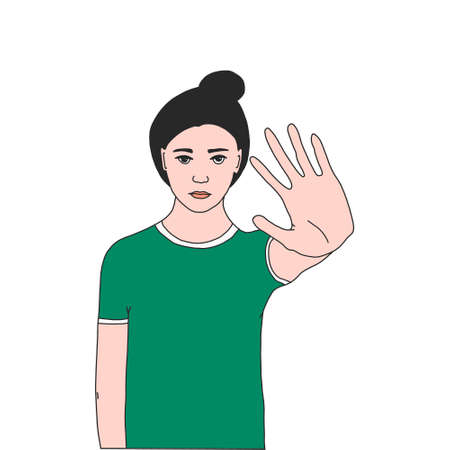 the young girl held out her hand, indicating the area of her personal border.the concept of social distance, personal space.vector illustration in flat style.for socialmedia banners, web design, app