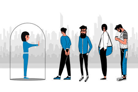A young woman stands inside a transparent glass bubble and a crowd of people. The concept of isolation from society, social isolation, asociality of the individual.Flat cartoon vector illustration. 向量圖像