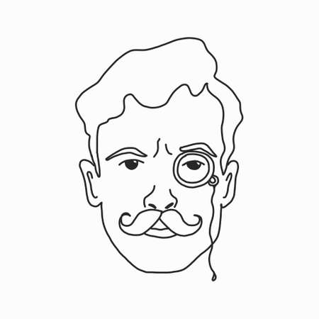 Sketch of a learned man with a mustache and a pince-nez. vector illustration in retro style. Black and white image. for  icons, and avatars in social networks.