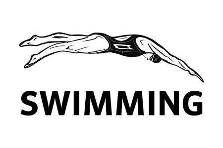 Design Of The Swimming Club . Design of the swimmer s badge.vector illustration in a minimalistic style with the inscription swimming. Suitable for banners and posters of sporting events.