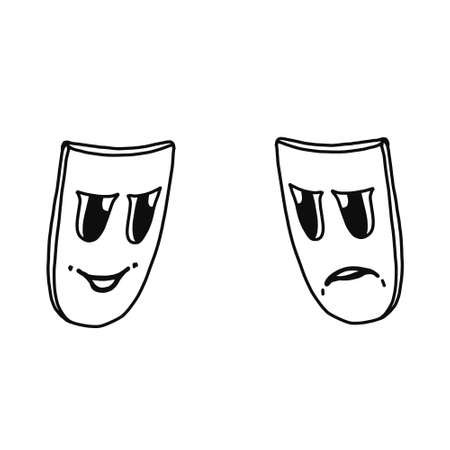 The theater and mask icon. Drama, comedy, tragedy symbol. Flat Vector illustration 向量圖像