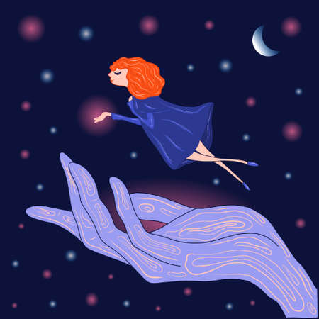a young happy and attractive witch with red hair. Hovering over the magic hand. Vector illustration on dark blue background in cartoon style. For books, postcards, banners, Wallpapers and posters