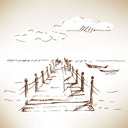 rope bridge: Wooden pier at sea with cloudscape. Sketch. Vector illustration.