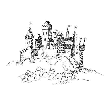 Medieval castle sketch. Vector illustration. Illustration