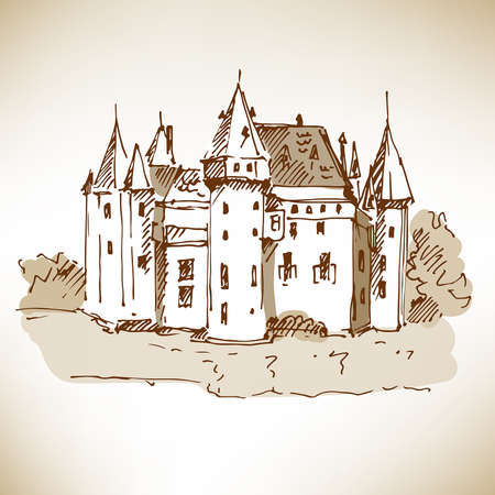 Hand drawn medieval castle on brown paper. Vector illustration. Vector