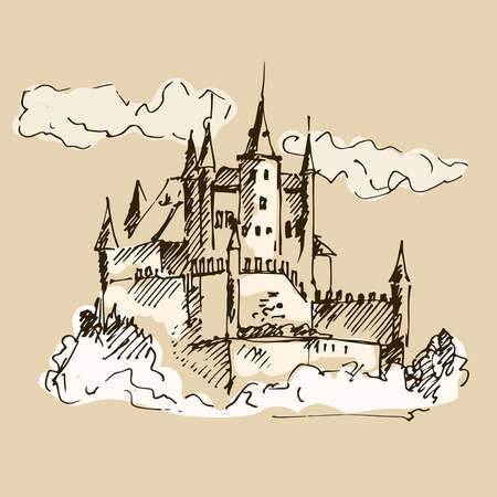 Hand drawn medieval castle. Vector illustration. Vector