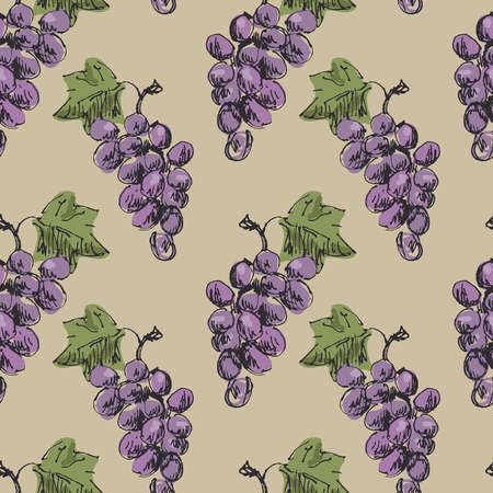 Seamless grapes background. Vector illustration. Vector