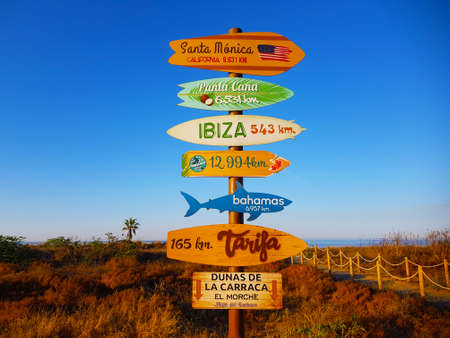 sign indicating distance between cities