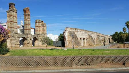 View at the aqueduct of San Lazaro in Merida