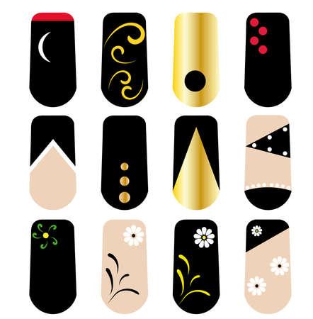 Vector Nail art set, porcelain nails, manicure, beauty salon. some realistic ones
