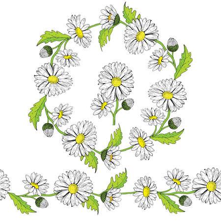 A beautiful wreath of white chamomiles.