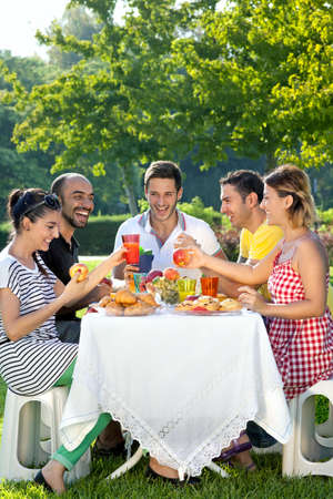 Group of multiethnic friends enjoying a meal together sitting at a table outdoors on the grass in a leafy green garden photo