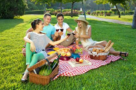 Vier jonge vrienden picknicken in het park zitten op een rustieke rode en witte gecontroleerd doek op een groen grasveld roosteren met glazen rode wijn Stockfoto