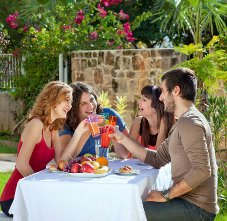 Couples enjoying a healthy outdoor lunch in the garden laughing and joking as they toast each other with their drinks