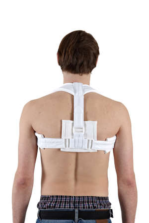 fractures: Bandage for clavicle fractures, back view  Stock Photo