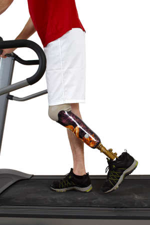 limbs: Male prosthesis wearer undergoing rehabilitation in a special training parcour for simulating realistic environmental situations Stock Photo