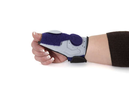 carpal: Wrist Orthosis for treating a carpal tunnel Syndrome, isolated on white   Stock Photo