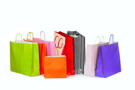 gift bags: Shopping bags in different sizes and colors.
