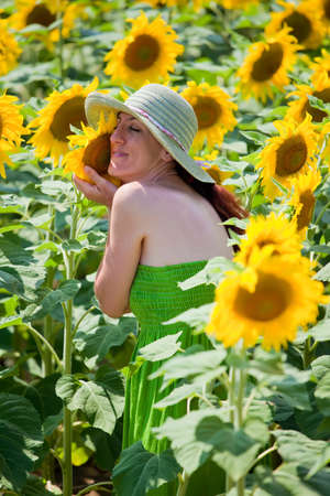 naturalist: Young female in sunflower field  Her face touches a sunflower as she caressing it